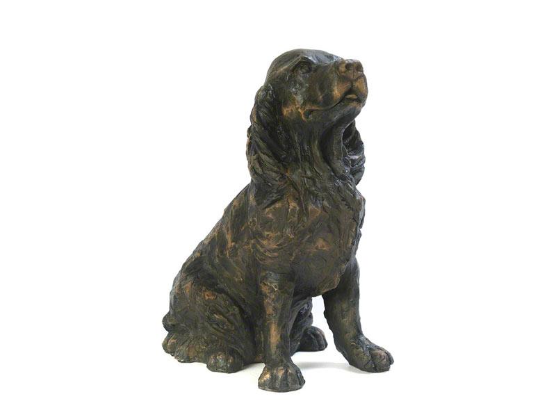Cast effect spaniel figurine urn